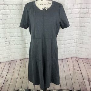 Athleta En Route Charcoal Grey Fit and Flare Dress